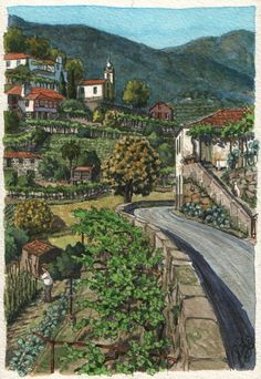 Minho splendor - Original art, small 5x7 landscape watercolor painting