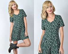 79a6c068960a Vintage 80s 90s Green Grunge Retro Romper dress Shorts Mini Floral Print XS  S 1254 Floral