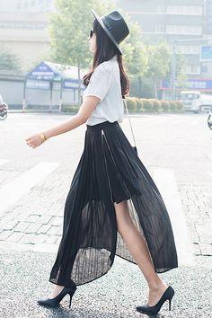 Shalex Pleated Split Side Maxi Skirt   Black