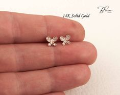 Butterfly Earrings Rose Gold Earrings Butterfly Stud Earrings Cubic Zirconia Butterfly Studs CZ Stud Earrings BloomDiamonds by BloomDiamonds on Etsy Baby Earrings, Kids Earrings, Small Earrings, Rose Gold Earrings, Diamond Earrings, Gold Earrings For Kids, Butterfly Earrings, Ear Jewelry, Jewelery