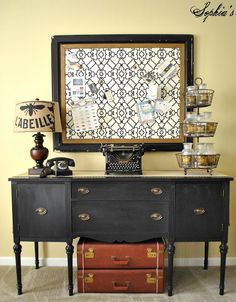Sophias: House Tour: painted black buffet