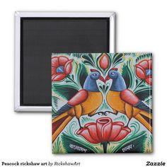 Peacock rickshaw art 2 inch square magnet
