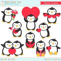 penguin valentine clip art digital clipart by PaperiePixel