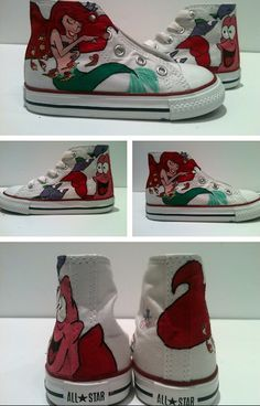 The little mermaid Vans Hand Painted Cavas Shoes,Lowtop Painted Canvas Shoes is part of Mermaid shoes - Disney Converse, Cool Converse, Painted Converse, Disney Shoes, Disney Outfits, Converse Shoes, Bedazzled Converse, Custom Painted Shoes, Painted Canvas Shoes
