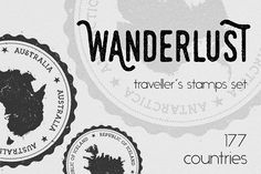 Wanderlust - 177 traveller's stamps by Gagarin on @creativemarket