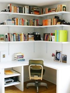 30 Corner Office Designs and Space Saving Furniture Placement Ideas : space saving ideas and furniture placement for small home office design Corner Bookshelves, Corner Wall Shelves, Bookshelf Desk, Storage Shelves, Book Shelves, Storage Organization, Book Storage, Wall Shelving, Bedroom Organization