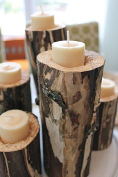 Branch Votives ~ aspen or pine logs tweaked with a chisel and Dremel tool creating and smoothing the holes. Dremel Tool Projects, Diy Projects, Dremel Ideas, Stone Crafts, Wood Crafts, Diy Arts And Crafts, Diy Crafts, Creative Crafts, Mountain House Decor