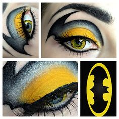 Classic Batman inspired eye gold / yellow, black and gray eyeshadow created by KIϟKI MAKEUP with gold /yellow contacts