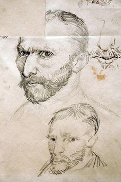 Vincent van Gogh, Self-Portraits, 1887. Pen and ink, graphite on wove paper, 31.1 x 24.4 cm. Van Gogh Museum, Amsterdam