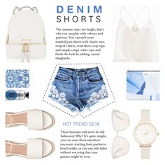 """""""Denim Shorts Trend SS'16"""" by rachaelselina ❤ liked on Polyvore featuring Casetify, MICHAEL Michael Kors, Olivia Burton, Oliver Peoples, Kenzo, jeanshorts, denimshorts and cutoffs"""