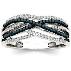 1/4 CTTW Blue and White Diamond Twist Fashion Ring in 10k White Gold... (19.755 RUB) ❤ liked on Polyvore featuring jewelry, rings, h, jewelry & watches, white gold diamond jewelry, swirl diamond ring, diamond jewellery, twist rings and diamond ribbon ring