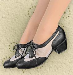 Aris Allen Women's Black and White 1950s Mesh Wingtip Swing Shoes, dancestore.com - 1