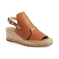 Pre-Owned Rag & Bone Size 7.5/8 Tan Sayre Ii Leather Wedge Espadrilles ($182) ❤ liked on Polyvore featuring shoes, sandals, neutral, tan wedge shoes, wedges shoes, tan leather shoes, tan sandals and wedge heel sandals
