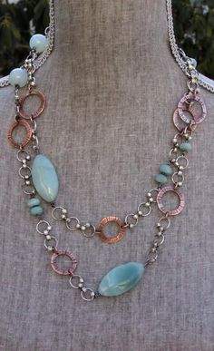Cynthia Murray Design Long Necklace with sterling silver, hand forged copper… Metal Jewelry, Sterling Silver Jewelry, Beaded Jewelry, Jewelry Necklaces, Silver Ring, Silver Earrings, Gold Choker, Jewellery Box, Turquoise Necklace
