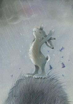 Illustration -white bunny in the rain Art And Illustration, Illustration Mignonne, Lapin Art, Art Fantaisiste, Art Mignon, Rabbit Art, Bunny Art, Whimsical Art, Cute Art