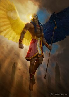 "quarkmaster: "" Horus Art made for the Character Design Challenge. It is said that the right eye of Horus is the sun, and his left eye is the moon. Egyptian Mythology, Egyptian Art, African Mythology, Egyptian Temple, Left Eye Of Horus, Egypt Concept Art, Horus Tattoo, Roman Gods, Angel Warrior"