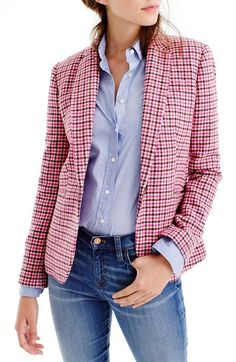 J.Crew 'Campbell' Pink Houndstooth Blazer available at #Nordstrom