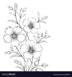 Pochoir fleur Best Picture For dessin croquis cheveux For Your Taste You are looking for something, Flower Art Drawing, Flower Sketches, Floral Drawing, Art Drawings Sketches, Flower Drawings, Simple Flower Drawing, Easy Drawings, Floral Embroidery Patterns, Hand Embroidery Designs