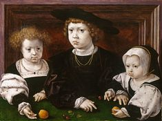 Three children of Christian II (Dorothea, John and Christina) by Jan Mabuse 1526.