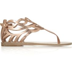 Ancient Greek Sandals Medea cutout mirrored-leather sandals ($168) ❤ liked on Polyvore featuring shoes, sandals, metallic, cutout sandals, flats sandals, round toe flats, studded flat shoes and flat heel sandals
