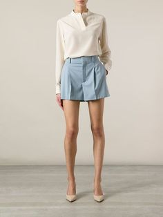 Shop designer short shorts for women at Farfetch for styles from Off-White, Prada, Phillip Lim and more. Pleated Shorts, Off White, Chloe, Mini Skirts, Shopping, Design, Women, Style, Fashion