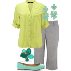 Teacher Outfits on a Teachers Budget.  Not necessarily a fan of the lime blouse, but maybe something coral instead.