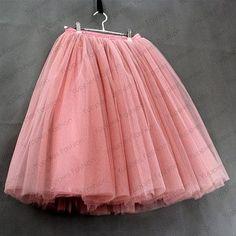 Yuppies Fashion 7 Layers Midi Tulle Skirt High Waisted Womens Skirts Pleated Ladies tulle tutu Faldas Saias Femininas YFS060165