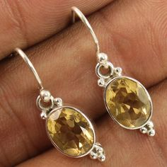 Amazing Dangles Earrings Natural CITRINE Faceted Gemstones 925 Sterling Silver #Unbranded #DropDangle