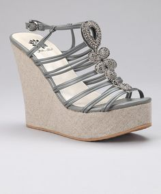 b0cfe61536 Yellow Box Shoes Gray Sequin Wedge