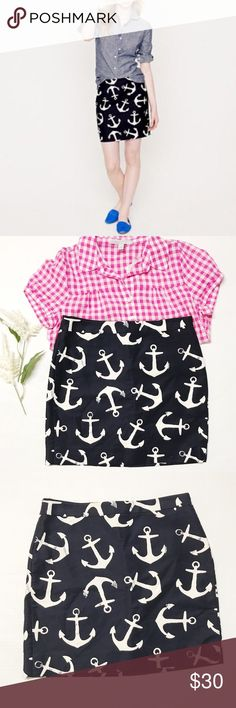 J. Crew Size 4 anchor Print skirt J. Crew Size 4 anchor Print skirt Excellent condition  material cotton and spandex  length 17 inch Waist 15 inch J. Crew Skirts Mini