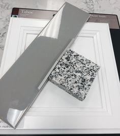 White cabinets, dark 4x16 subway tile backsplash, pauline grey granite and lighter grout color