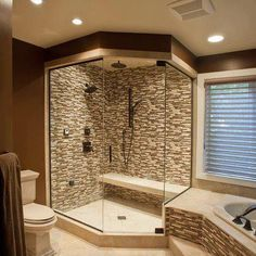 YESS PLEASE! I love how the tile is carried around the tub, looks amazing. I'd make the shower heads bigger, though.