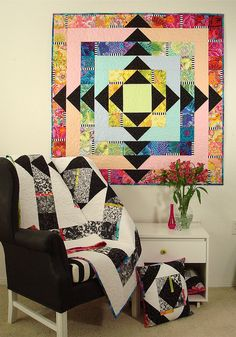 Kaffe Fassett fabric used in Facets Quilt Pattern by SpringLeaf Studios
