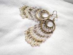 Round Synthetic Plastic Pearl Antique Bronze Earrings by juta230, $26.50