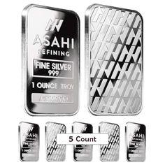 Lot of 5 - 1 oz Asahi Silver Bar .999 Fine Sealed