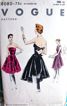 1950s  Vogue Pattern 8080   GLAMOROUS  Ladies'  by anne8865