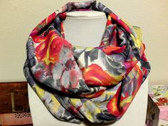 Show both your subdued & bright side with this lovely Silky Pink Grey Yellow Red Floral Infinity Loop Scarf by 'StitchHappensHere' on Etsy.