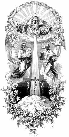 transfiguration crucifixion moses elias elijah god the father Best Sleeve Tattoos, Tattoo Sleeve Designs, Body Art Tattoos, Angel Tattoo Designs, Catholic Art, Religious Art, Religion Tattoos, Catholic Tattoos, Image Jesus