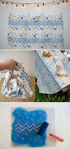 Hand printed fabric DIY tutorial by Karen Barbe Emotions via textile design – Karen Barbé Stamp Printing, Printing On Fabric, Screen Printing, Textile Prints, Textile Design, Fabric Design, Shibori, Stencil, Sewing Projects