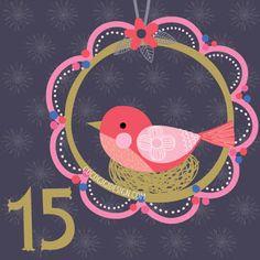 Christmas advent 15 © Gina Maldonado 2015 cocogigidesign.com #Christmas #folkart #birdhouse