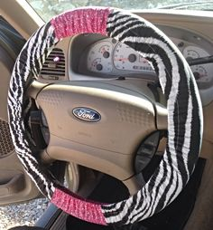 Love custom car accessories! http://emeraldraindesigns.storenvy.com/products/8322999-zebra-print-pink-hearts-steering-wheel-cover