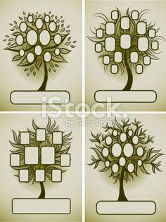 Vector set of family tree designs Royalty Free Stock Vector Art Illustration