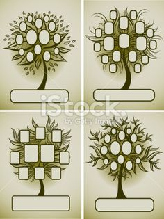 Vector set of family tree designs Royalty Free Stock Vector Art Illustration