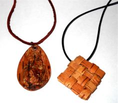 Birch bark pendants. By Molly Gardner