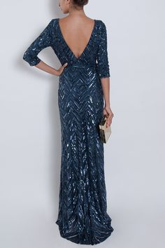 Three Quarter Sleeves Beaded Navy Gown. Soooo gorgeous