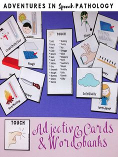An essential set of adjectives from 10 different categories (such as touch, sound, color, shape and size) to help expand and develop written expression, expressive and receptive language skills.