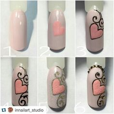 Cute Nail Art Ideas to Try - Nailschick Diy Nails, Cute Nails, Pretty Nails, Manicure, Nail Art Arabesque, Nail Drawing, Gel Nagel Design, Nagellack Design, Valentine Nail Art