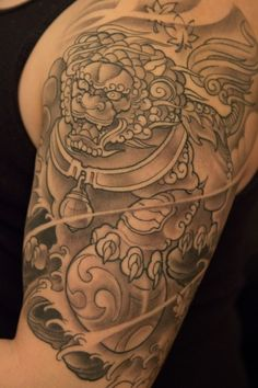 Fu Dog Japanese half sleeve. Done by Jeese Wark @ Blackwater Tattoo Vancouver, BC.