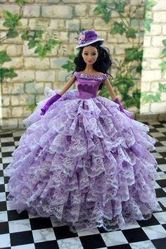 Handmade Barbie doll clothes /purple Lotus leaf cake by Blueberry3