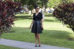 La Vida de Serendipity Tom Ford SunGlasses Leather A-Line skirt and Top, #LalaLove #PolkaDotShoes